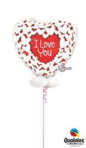 36in Holographic Glitter Heart Balloon Bouquet