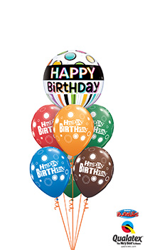 Birthday-Black-Band-Bubble Balloon Bouquet