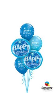 Birthday Blue Sparkle Balloon Bouquet