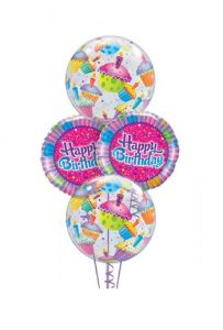 Birthday Cupcake Bubbles Balloon Bouquet