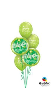 Birthday Green Sparkle Balloon Bouquet