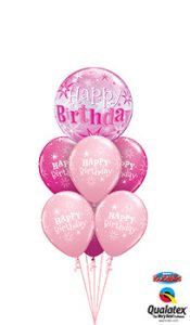 Birthday-Pink-Sparkle-Bubble Balloon Bouquet