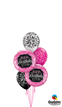 Damask Birthday Balloon Bouquet