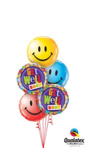 Get Well Dots & Smiles Balloon Bouquet