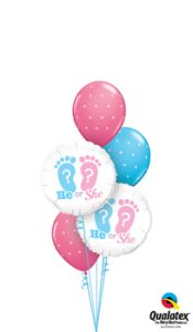 He or She Footprints Balloon Bouquet