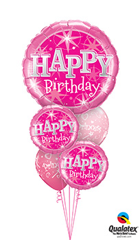 BIG-Birthday-Pink-Sparkle Balloon Bouquet