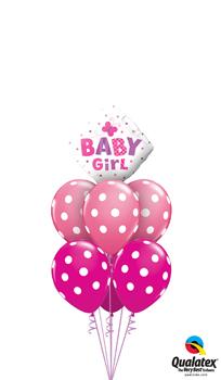 Baby Girl Dots and Butterflies Balloon Bouquet