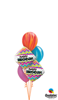 Birthday Stripes Balloon Bouquet