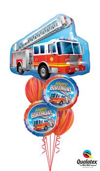 Fire Engine Birthday Balloon Bouquet
