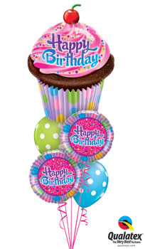Frosted Cupcake Birthday Balloon Bouquet