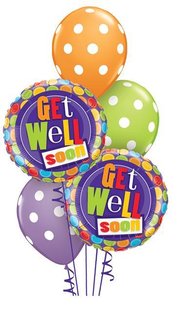 Get Well Soon Dots Balloon Bouquet