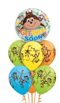 Get-Well-Soon-Monkey-Bubble Balloon Bouquet