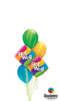 Get Well Stripes Balloon Bouquet