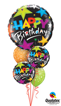 Happy-Birthday-Black-Stars Balloon Bouquet