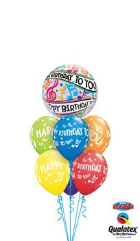 Music Notes Bubble Birthday Balloon Bouquet