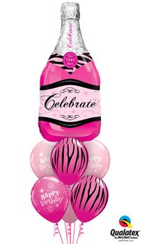 Pink Champagne Birthday Balloon Bouquet