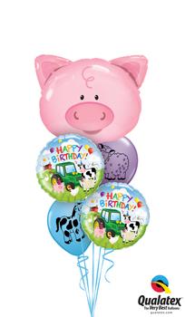 Playful Pig Birthday Balloon Bouquet