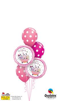 Rachel Ellen - On Your Christening Pink Balloon Bouquet