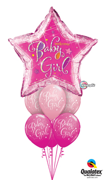Welcome Baby Girl Star Balloon Bouquet