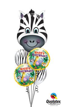 Zany Zebra Birthday Balloon Bouquet